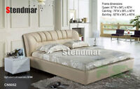 NEW MODERN STYLE LEATHERETTE PLATFORM BED CN9052