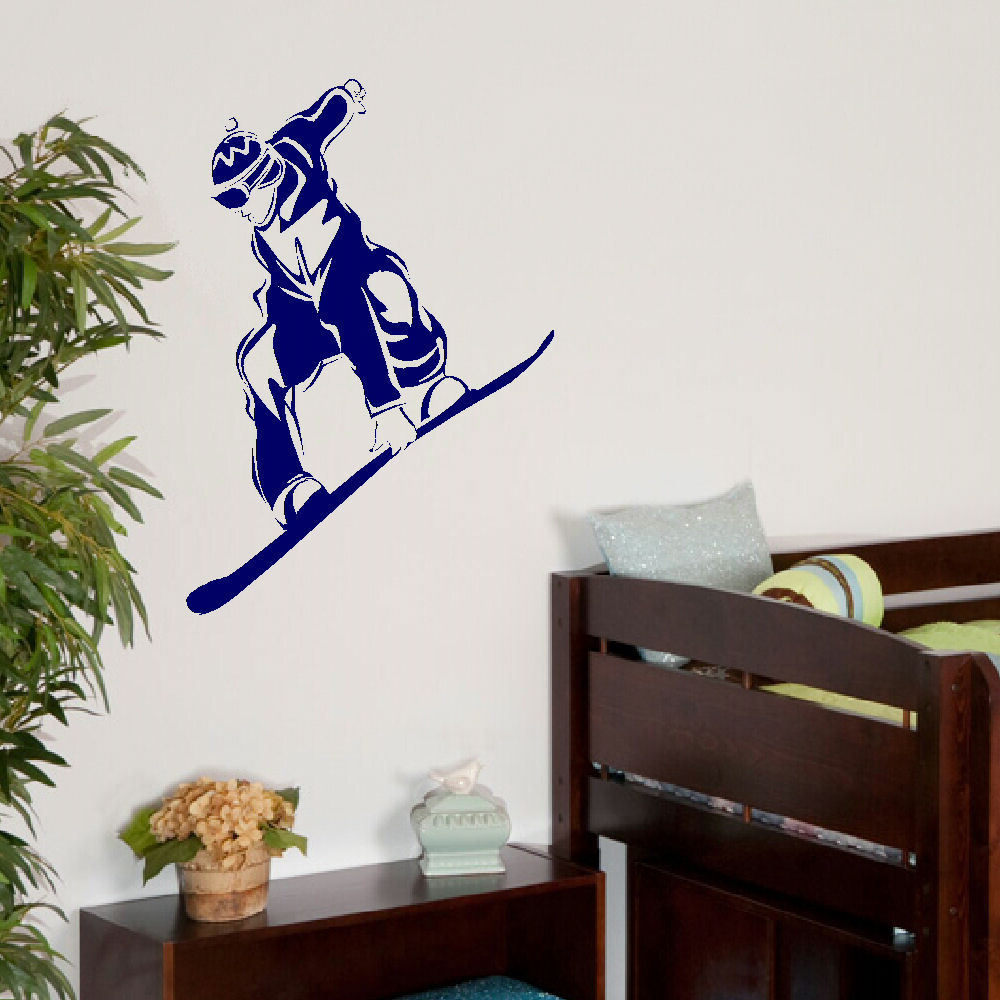Large snow boarding childrens bedroom wall mural giant art - Sticker geant mural ...