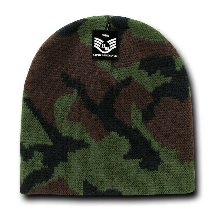 Woodland Green Knit Skull Hunting Camo Camouflage Ski