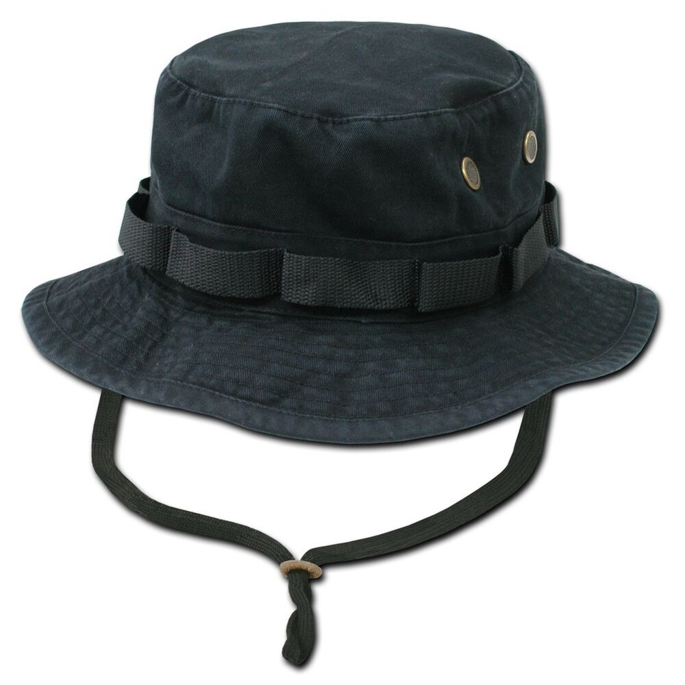 Black military boonie hunting army fishing bucket jungle for Fishing boonie hat