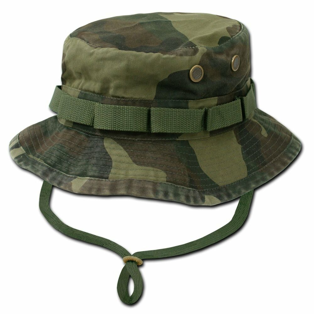Woodland camo military boonie hunting army fishing bucket for Camo fishing hat