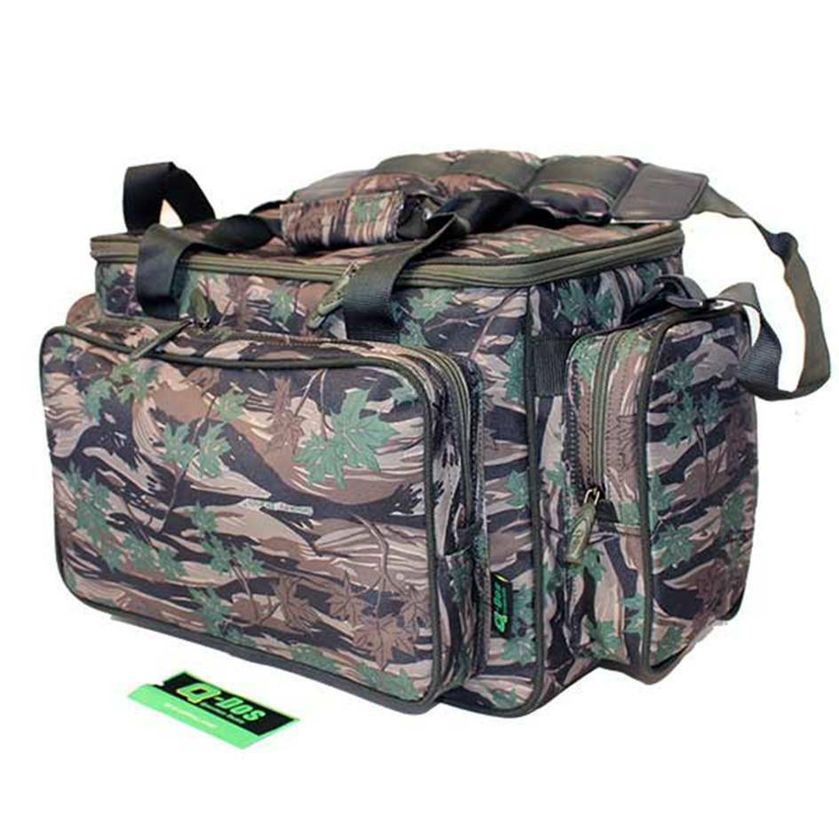 Q dos brand new green camo carp pike fishing tackle bag for Ebay fishing gear