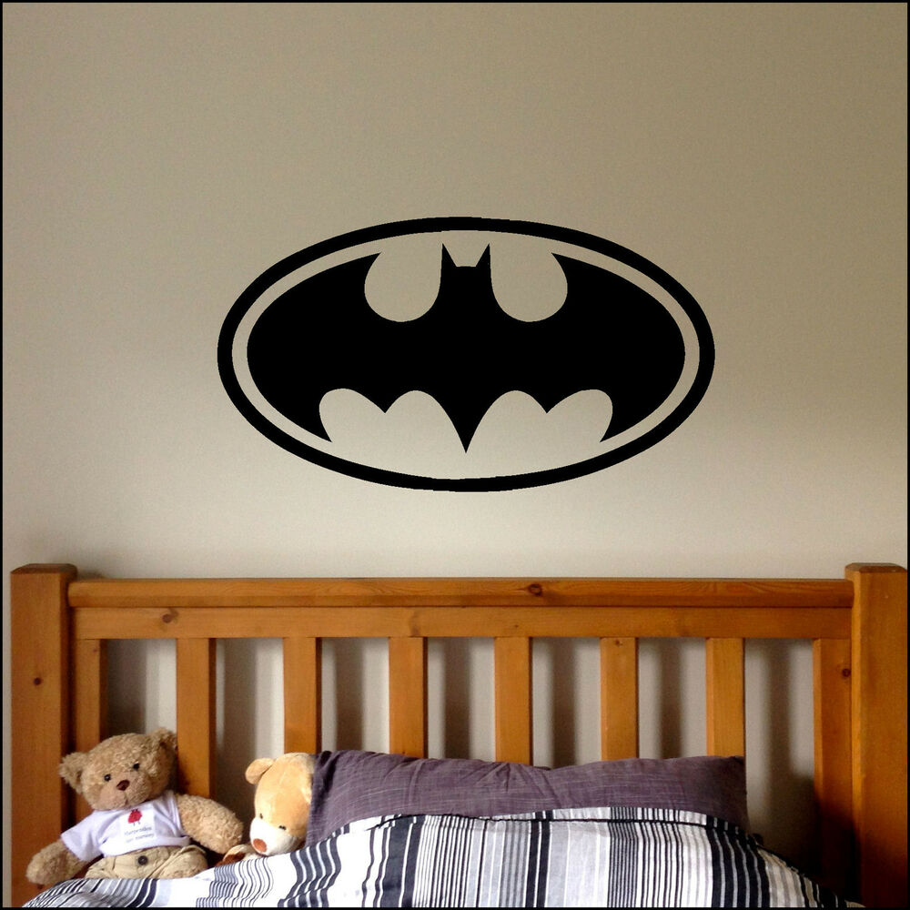 Large batman logo childrens bat bedroom wall sticker art for Batman bedroom wall mural