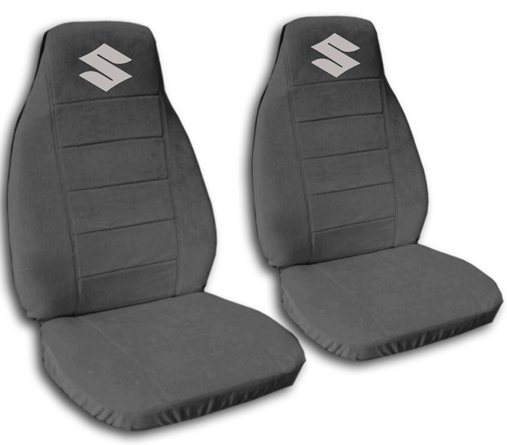 nice suzuki samurai charcoal cotton front car seat covers with s logo more avbl ebay. Black Bedroom Furniture Sets. Home Design Ideas
