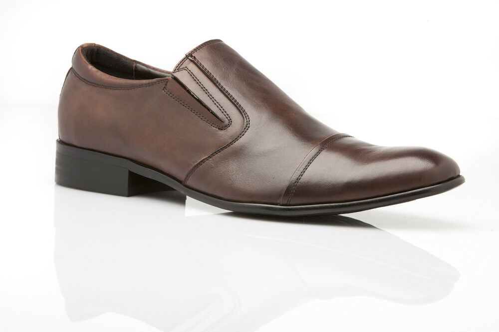 new mens zasel dress coffee brown leather slip on loafers