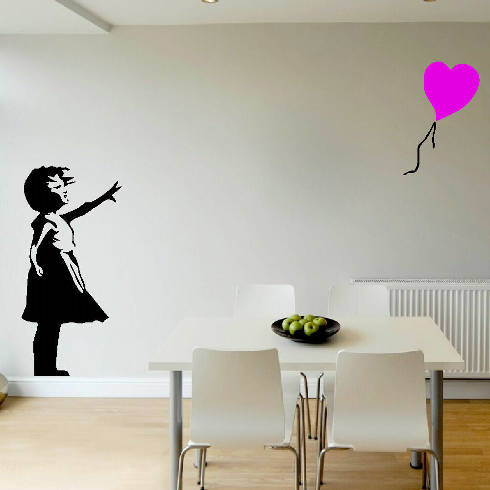 Banksy Girl Colour Balloon Large Bedroom Wall Mural