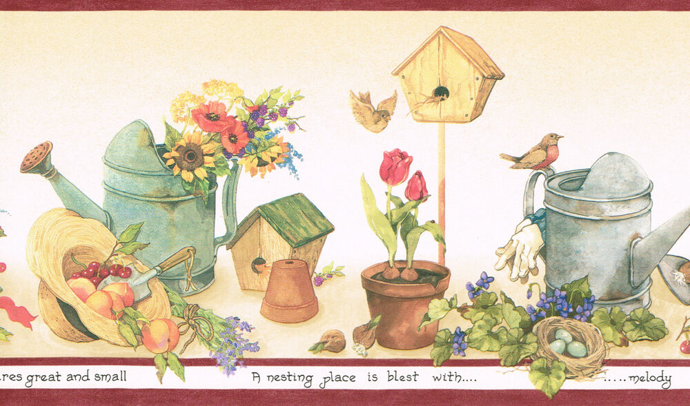 country gardening flowers watering cans bird houses