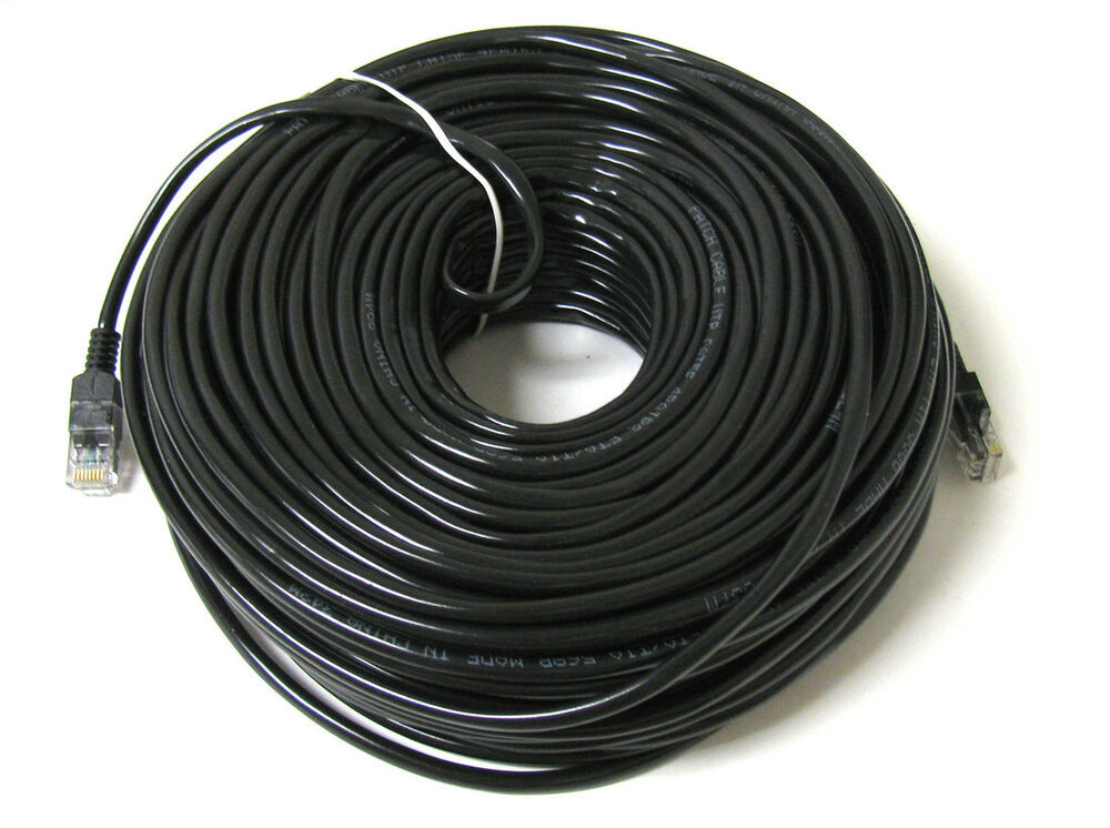 100ft 100 ft rj45 cat6 cat 6 high speed ethernet lan network black patch cable ebay. Black Bedroom Furniture Sets. Home Design Ideas