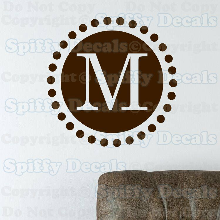 Personalized custom circle initial monogram lettering for Custom wall letter stickers
