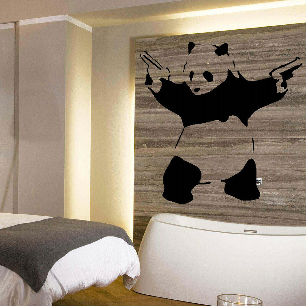 Banksy panda with guns sticker truck stickers logos and vinyl - Large Banksy Panda Wall Art Mural Stencil Sticker Transfer High Quality Vinyl