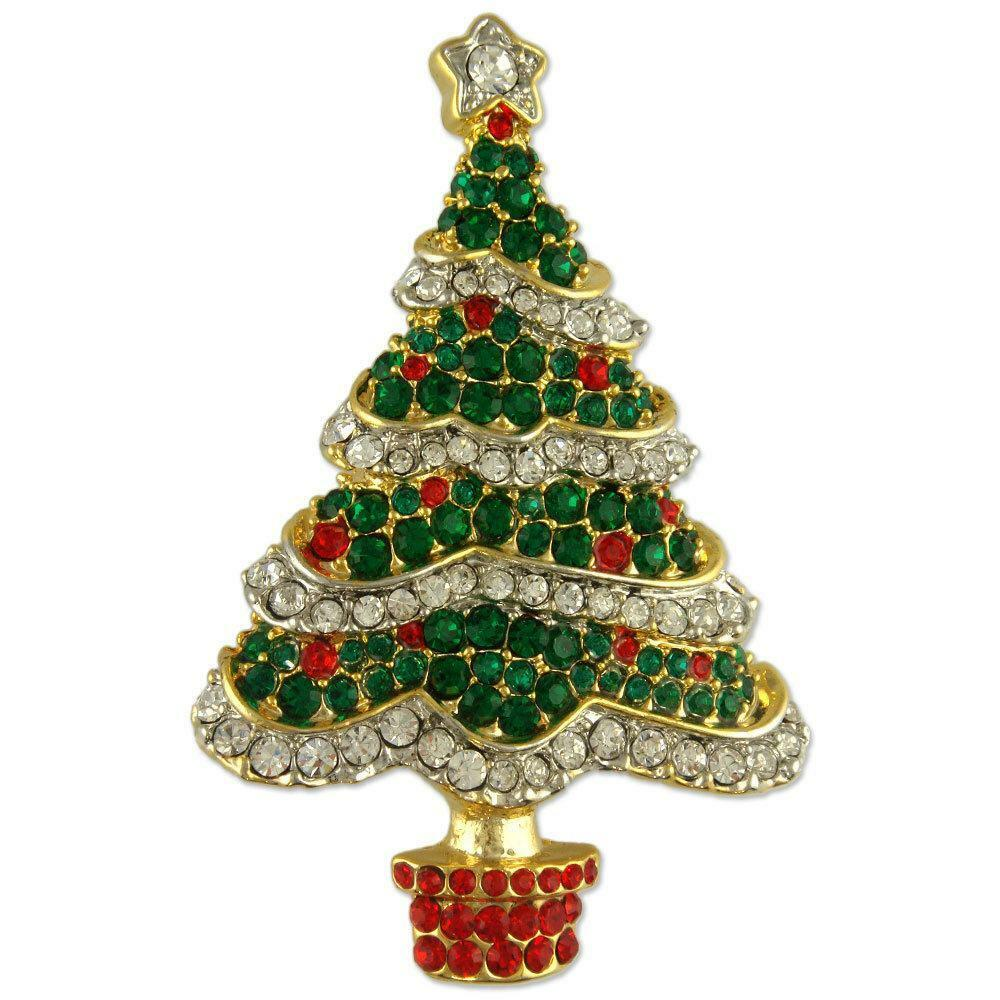 CRYSTAL GOLD PLATED GREEN CHRISTMAS TREE PIN BROOCH MADE ...