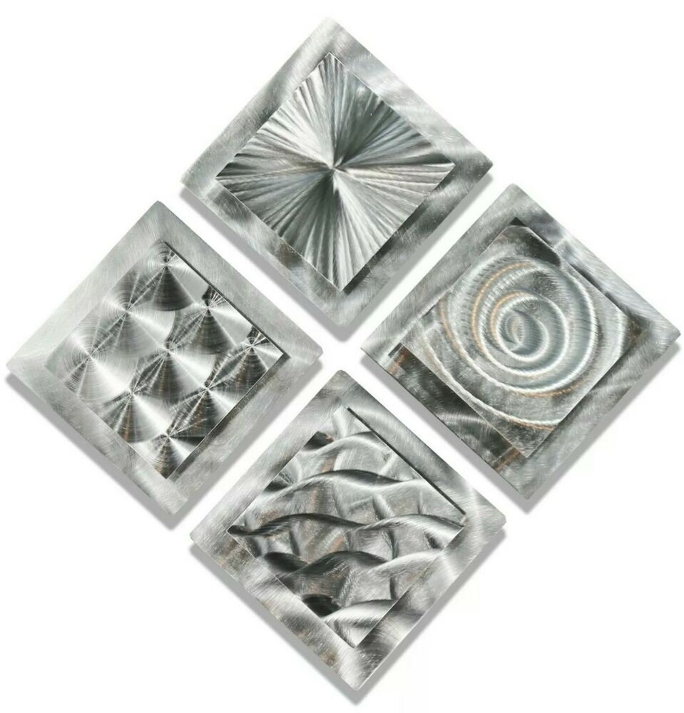 Set of 4 silver modern metal wall art sculptures for Silver wall art