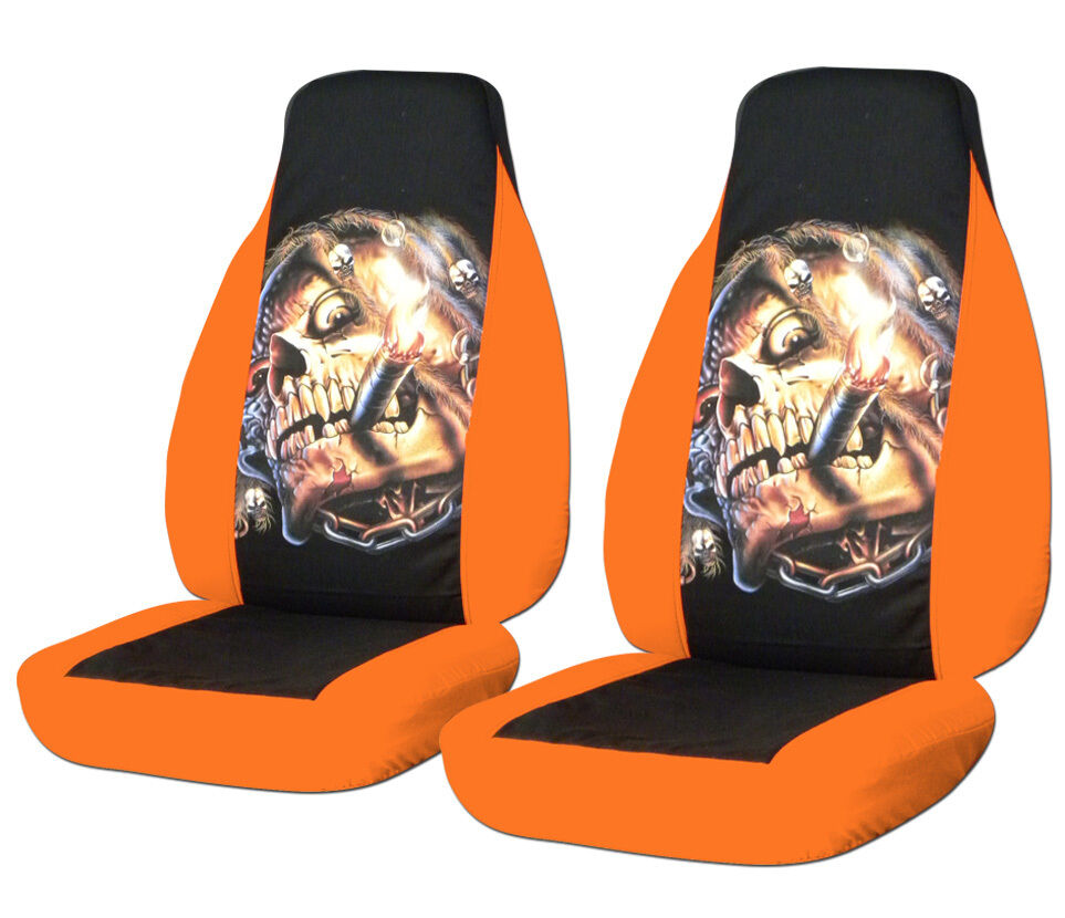 94 04 Ford Mustang Smoking Skull Front Car Seat Covers