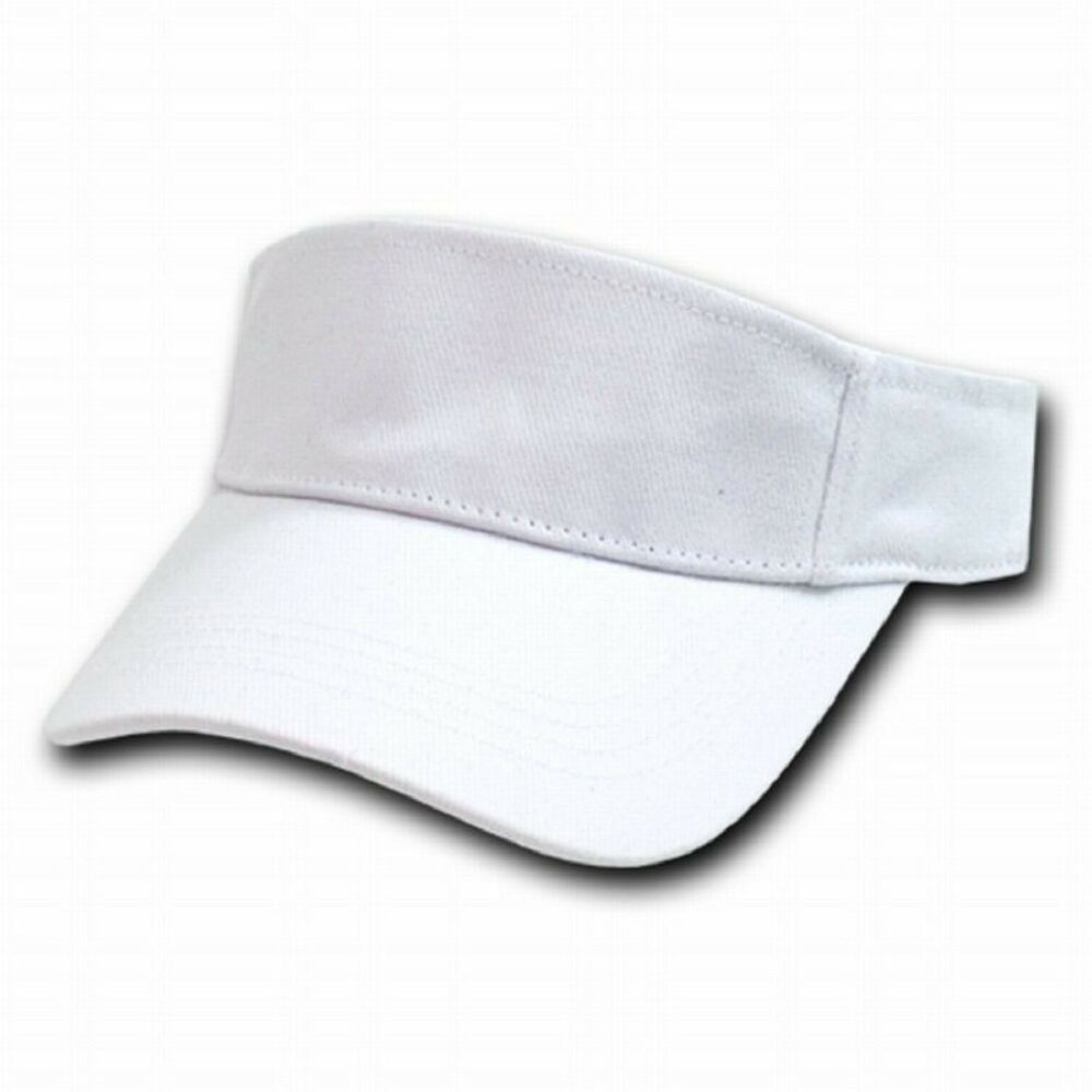 White Brushed Cotton Golf Tennis Plain Adjustable Sun ...