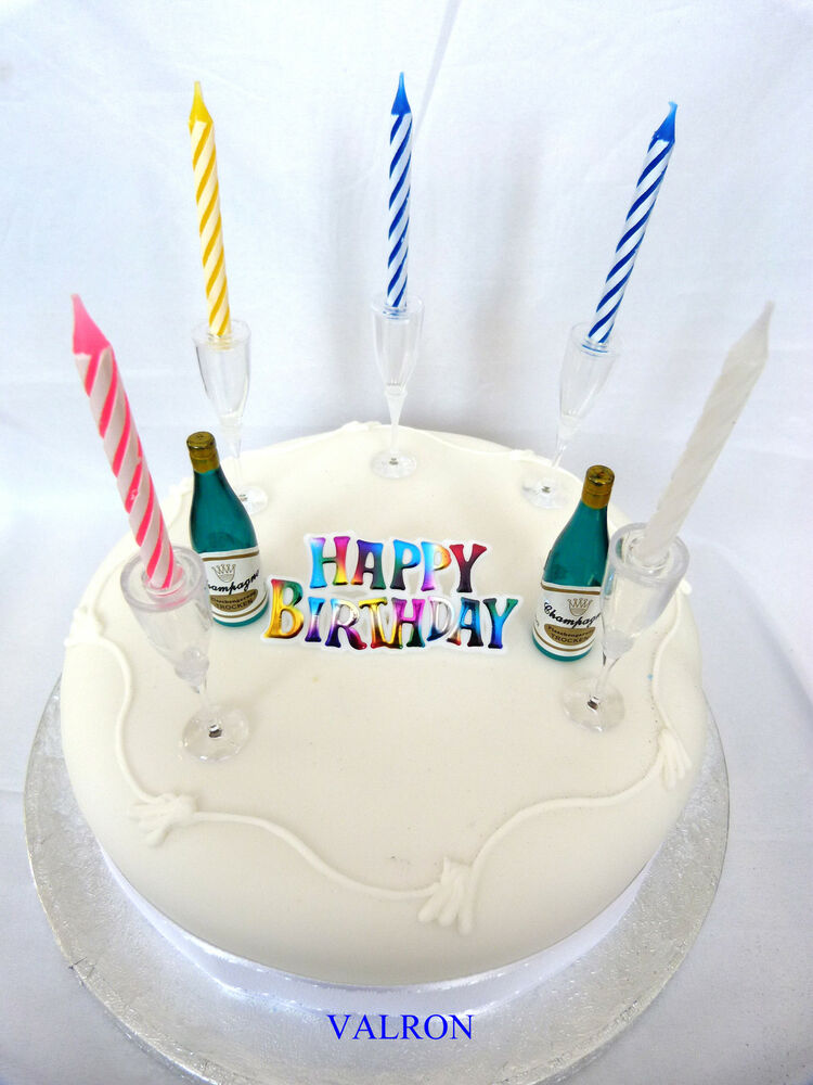 Happy Birthday Champagne Bottle Amp Glasses Candle Cake