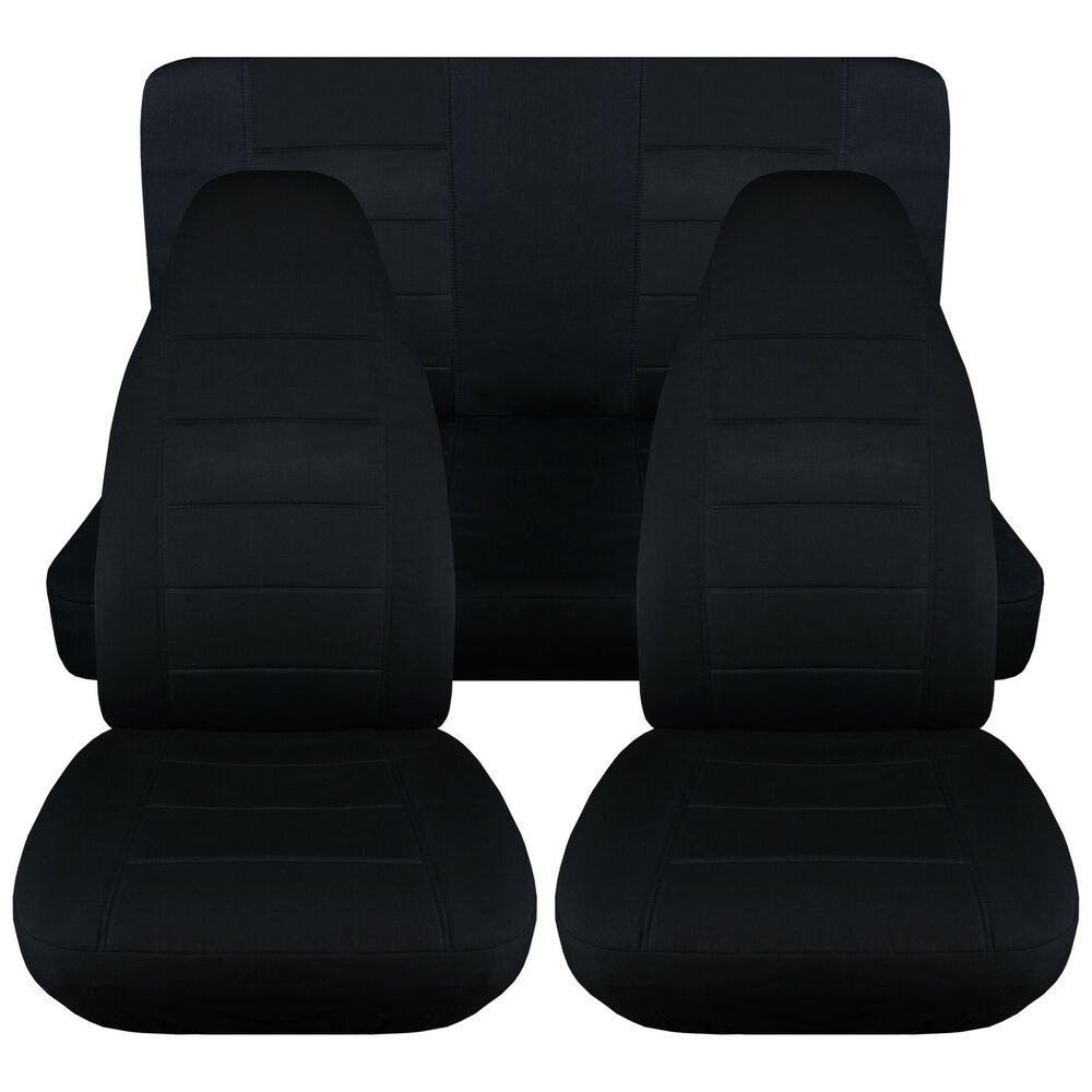 Jeep Wrangler Yj Solid Black Front Rear Car Seat Covers