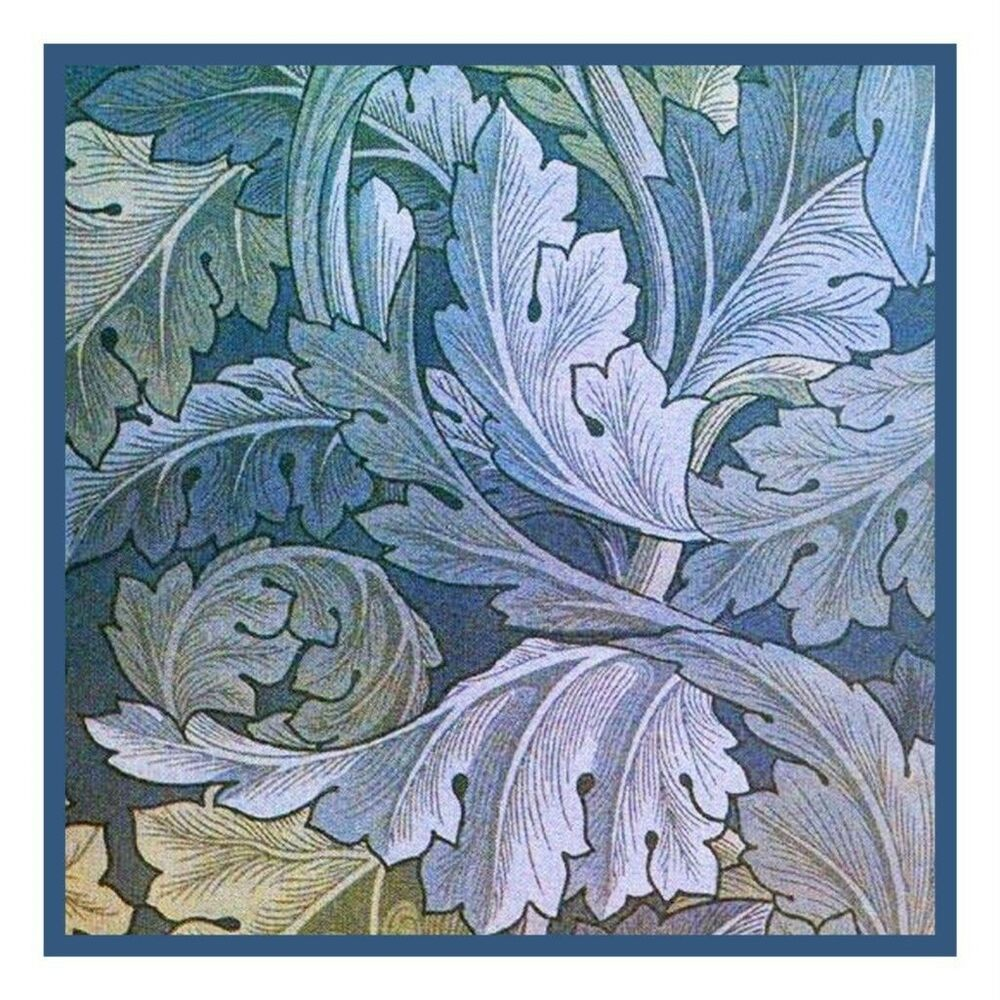 arts amp crafts william morris blue acanthus counted cross