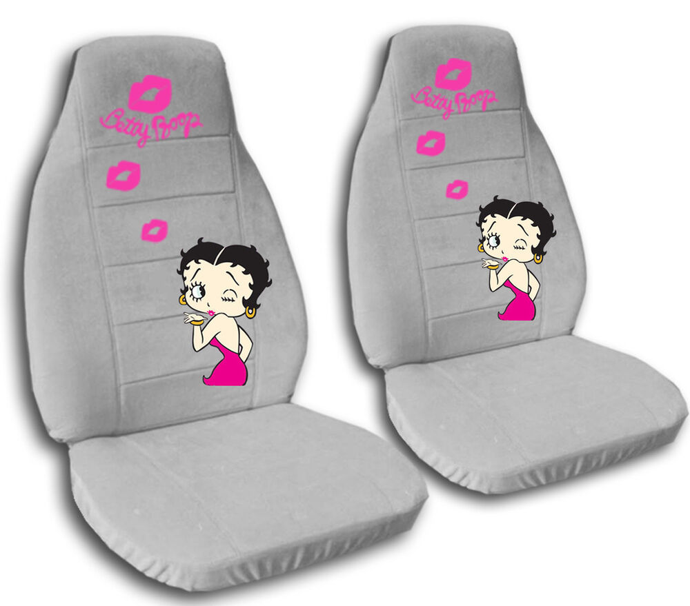 2 front silver betty boop velvet seat covers universal size ebay. Black Bedroom Furniture Sets. Home Design Ideas