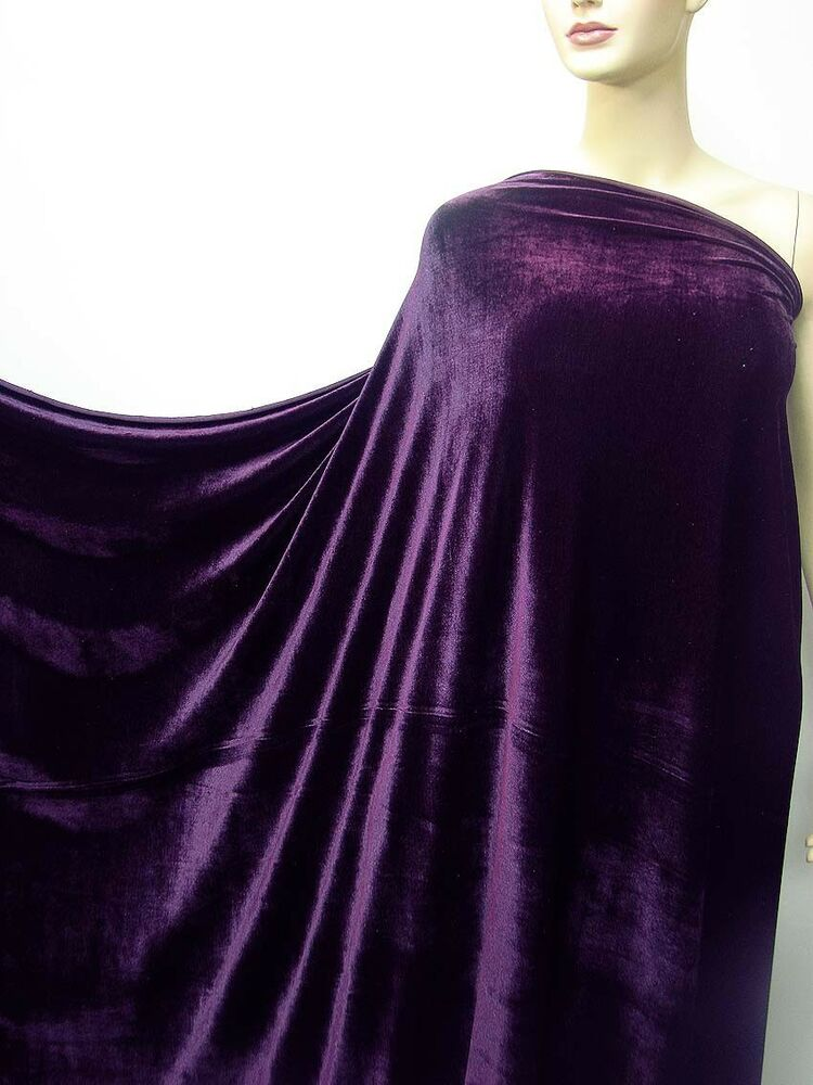 4way stretch velvet clothing curtain fabric grape purple by meters