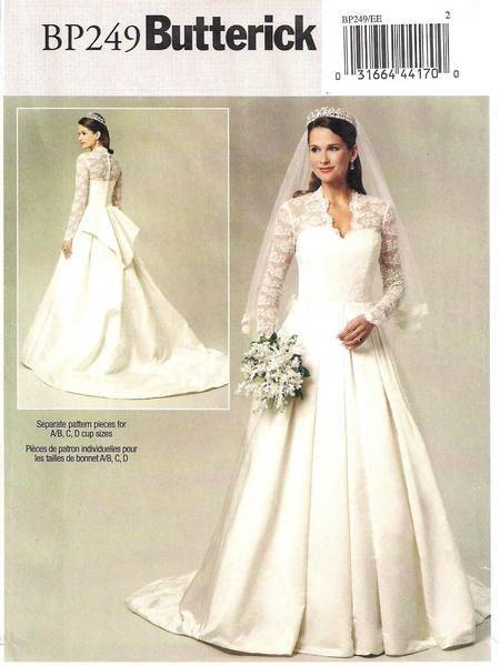 Butterick bp249 kate middleton uk royal wedding bride for Sell your wedding dress online for free