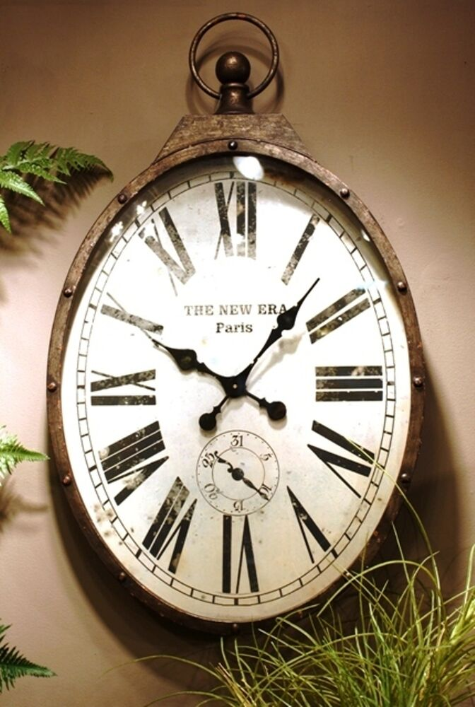 pocket watch wall clock warehouse vintage industrial style large oval shaped 11132
