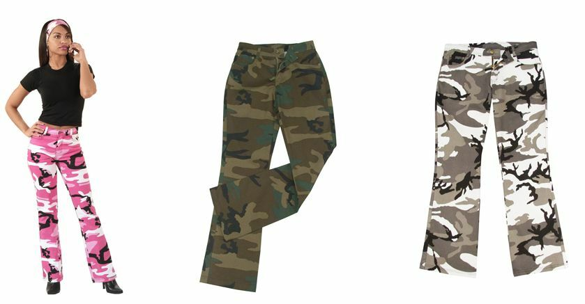 WOMENS MILITARY ARMY CAMOUFLAGE FLARE BDU FATIGUE PANTS ...