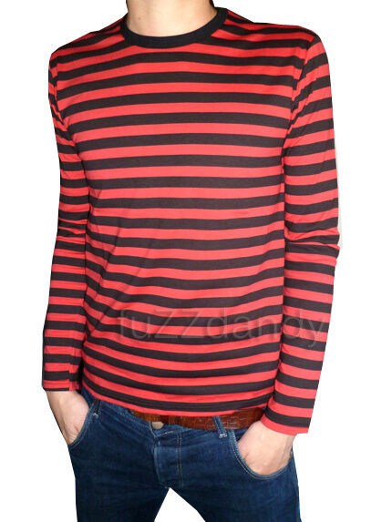 Mens stripey t shirt tee red black nautical indie mod top for Best striped t shirt