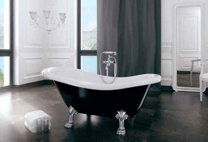 badewanne otylia freistehende schwarz weiss 170 x 77 cm ebay. Black Bedroom Furniture Sets. Home Design Ideas