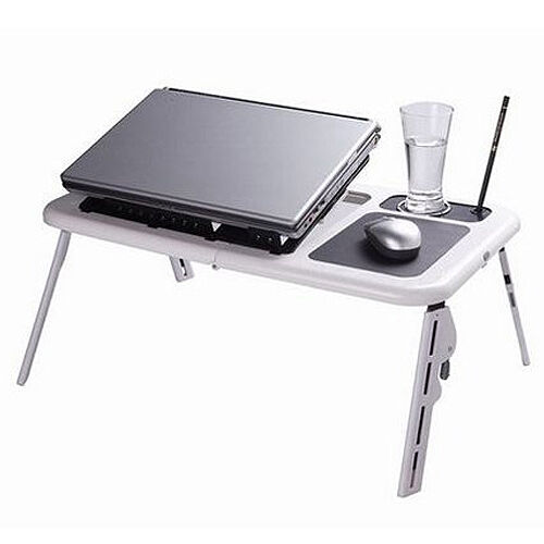 laptop lap desk foldable table e table bed with usb cooling fans stand tv tray ebay. Black Bedroom Furniture Sets. Home Design Ideas