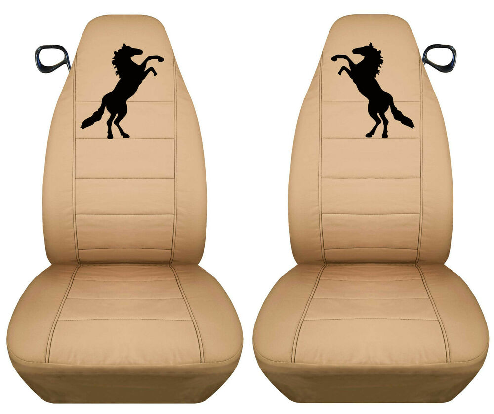 fa 94 04 ford mustang front set car seat covers tan w blk horse more in store ebay. Black Bedroom Furniture Sets. Home Design Ideas