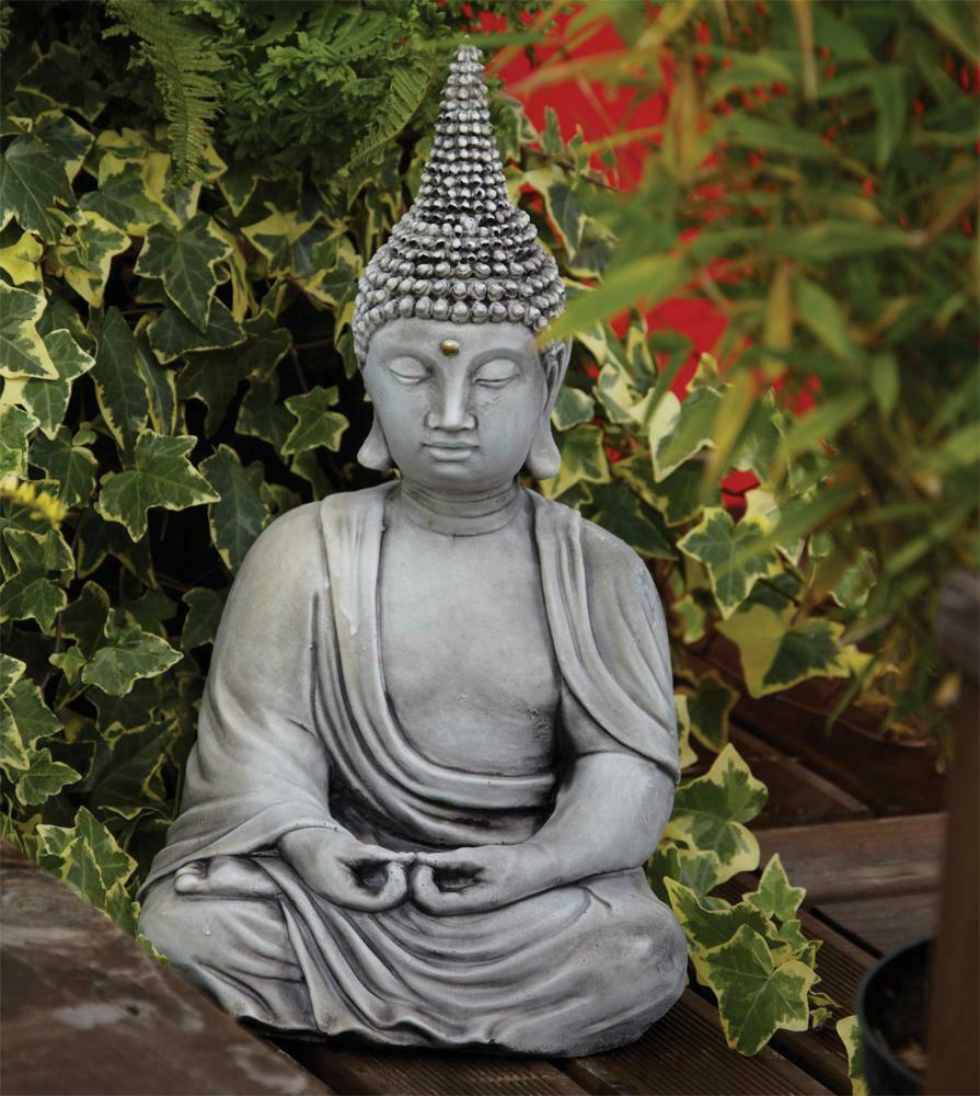 Large garden ornaments pearl hat thai stone buddha for Outdoor buddha