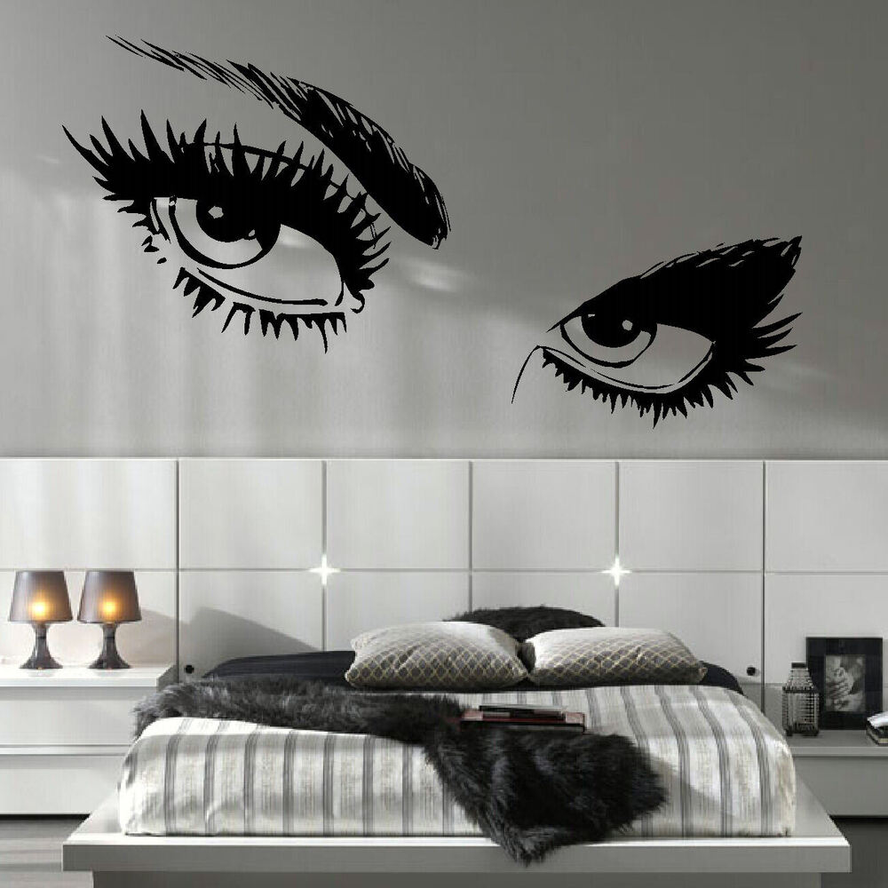 large woman eyes eye salon wall mural transfer art cut. Black Bedroom Furniture Sets. Home Design Ideas