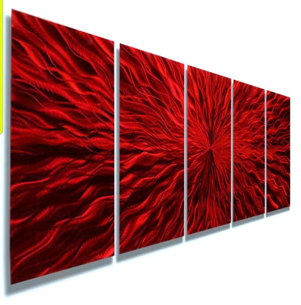 Red modern abstract metal wall art sculpture home decor for Red metal wall art