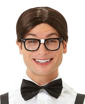 Brown Nerd Slicked Wig with Middle Part | eBay