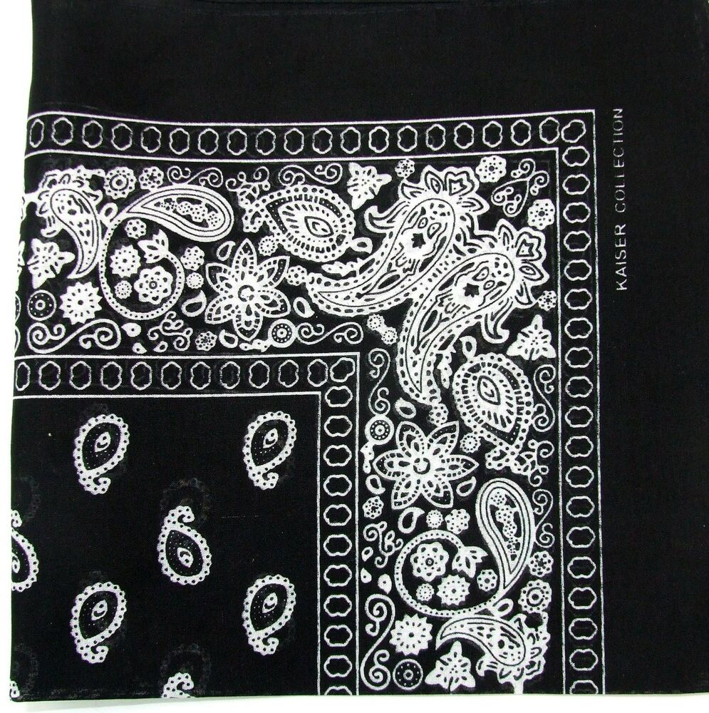 12 Black Paisley Head Bandana Bandanas Cotton Scarves ...