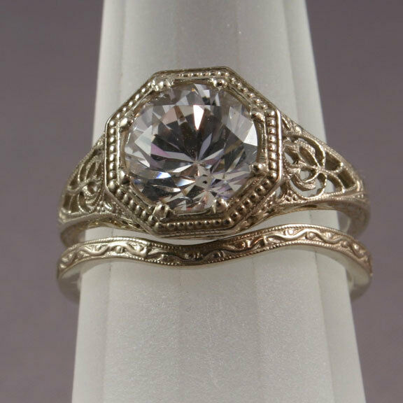 Antique filigree wedding band engagement ring set ws5 ebay for Where can i sell my old wedding ring