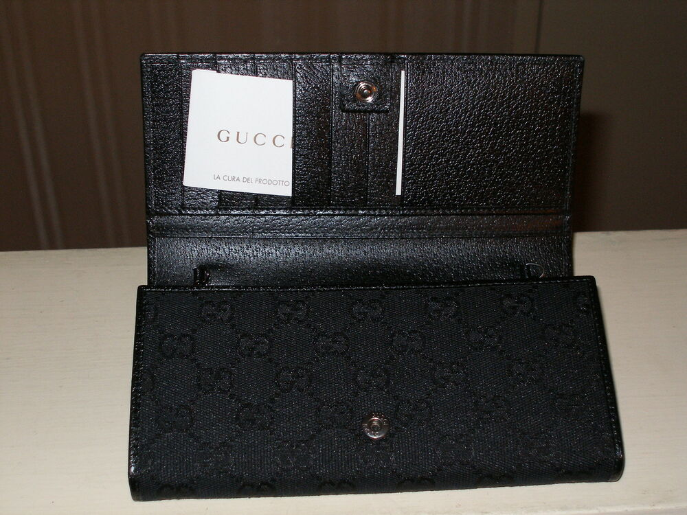 brand new authentic gucci gg print black women wallet made in italy