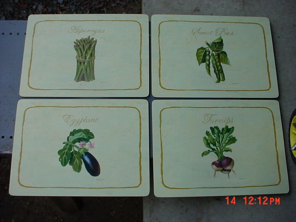 4 Deluxe Placemats Cork Backed Garden Variety Design 12x16 Ebay