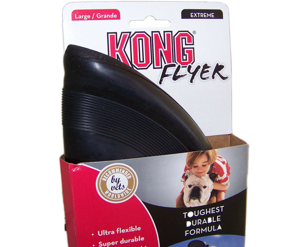 Kong Flyer Extreme Tough Rubber Dog Toy Large Black Ebay