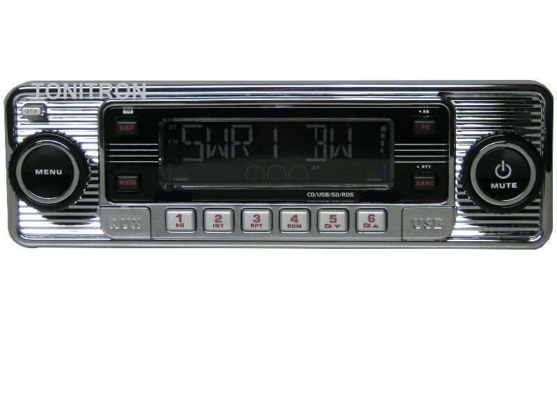 classic oldtimer youngtimer retro radio autoradio usb sd cd mp3 aux in chrom ebay. Black Bedroom Furniture Sets. Home Design Ideas