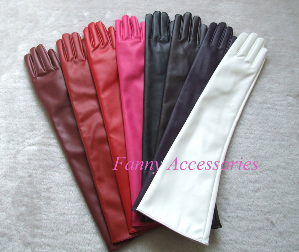 Vintage ladies leather opera gloves - Ladies Opera Evening Party Faux Leather Pu Over Elbow Long Gloves 20 034 Ebay