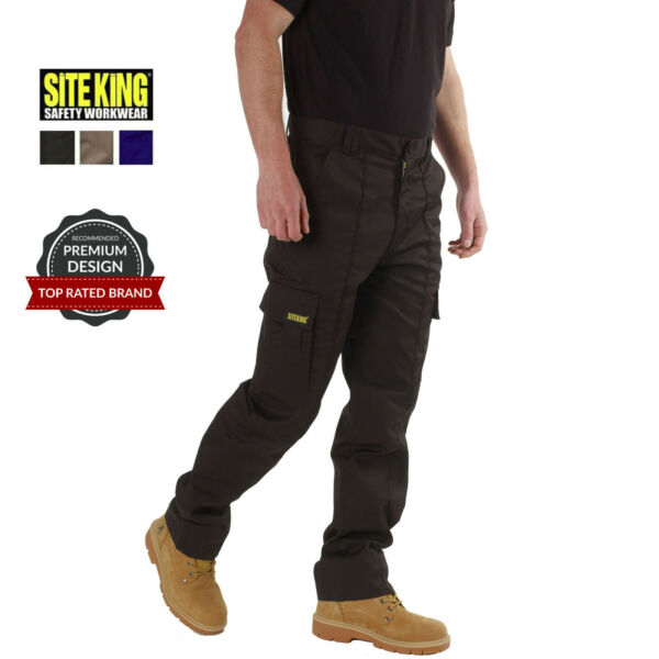 Mens Cargo Combat Work Trousers Size 28 to 52 Black Navy Khaki By SITE KING 02
