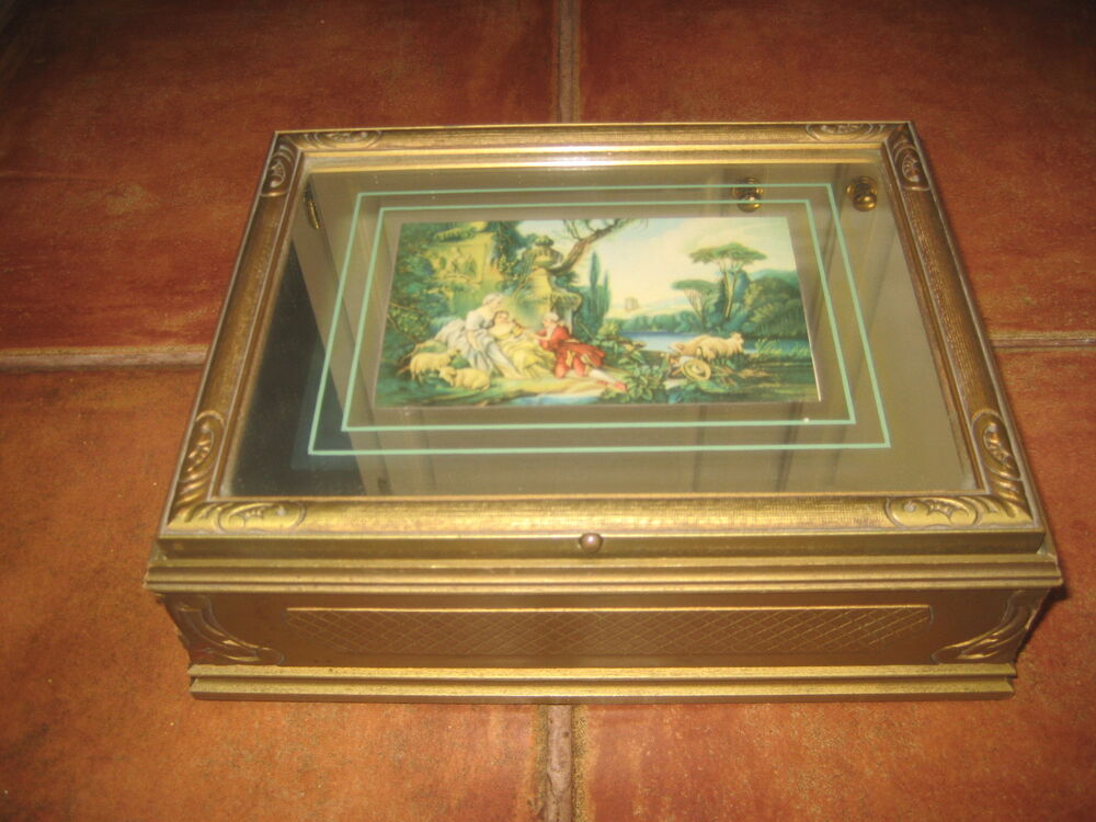 Vintage Jewelry Box Gold Finish Mirrors Lovely Picture On