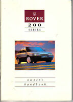Rover 200-Series 216 GSi 1989-90 Original UK Owner's Handbook Pub. No. AKM 6364