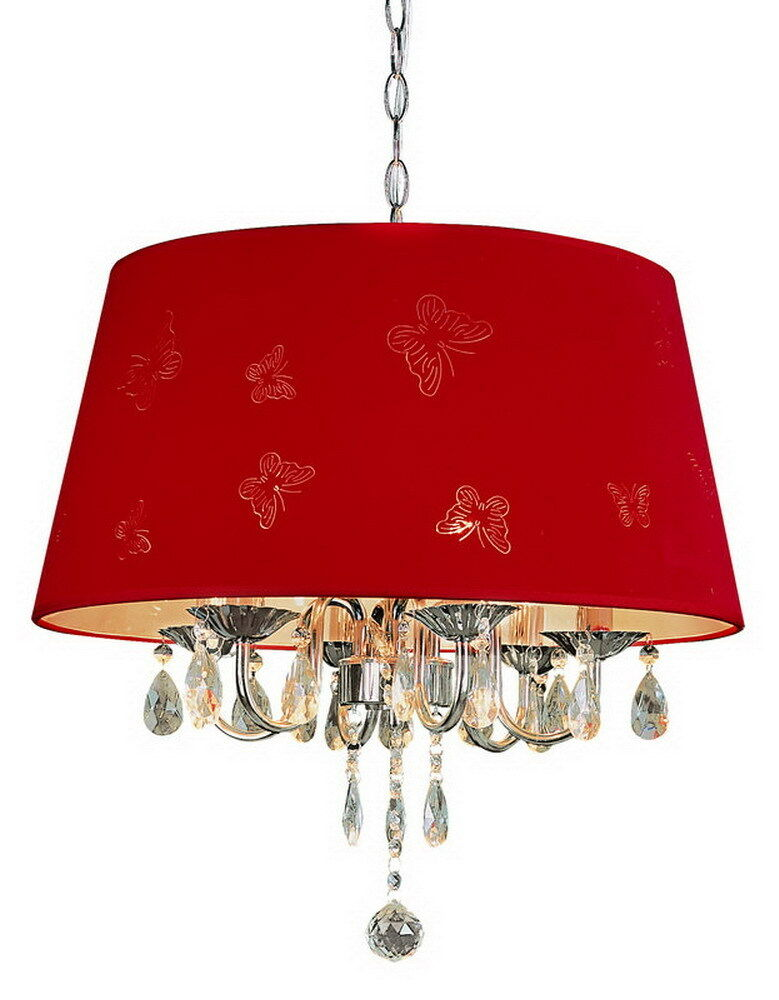 Crystal Chandelier With Red Butterfly Shade Ebay