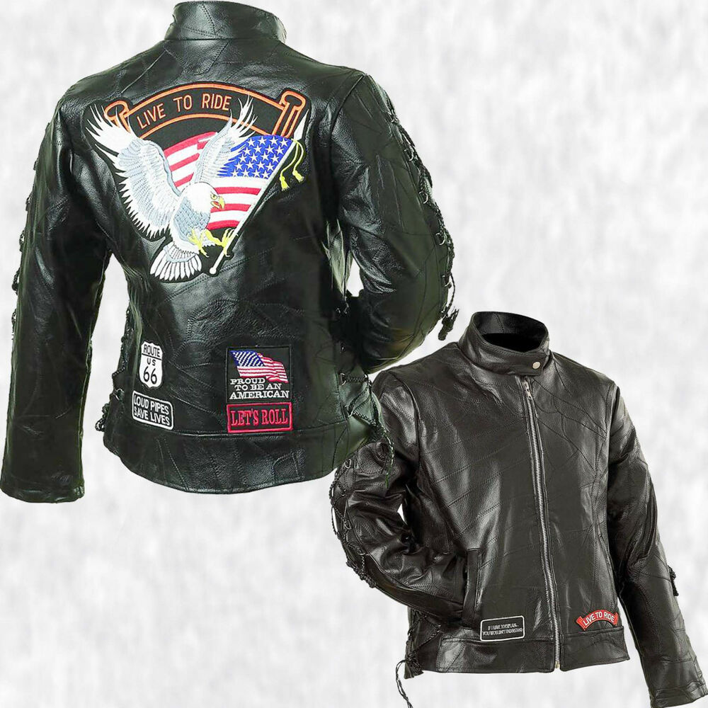 Women Black Leather Live To Ride Nehru Motorcycle Jacket Coat With Biker Patches | EBay