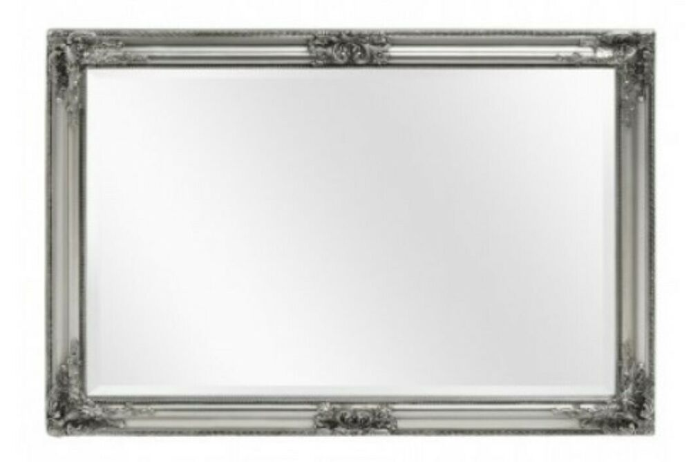 Antique silver ornate extra large wall mirror 30 x 42 for Large silver modern mirror