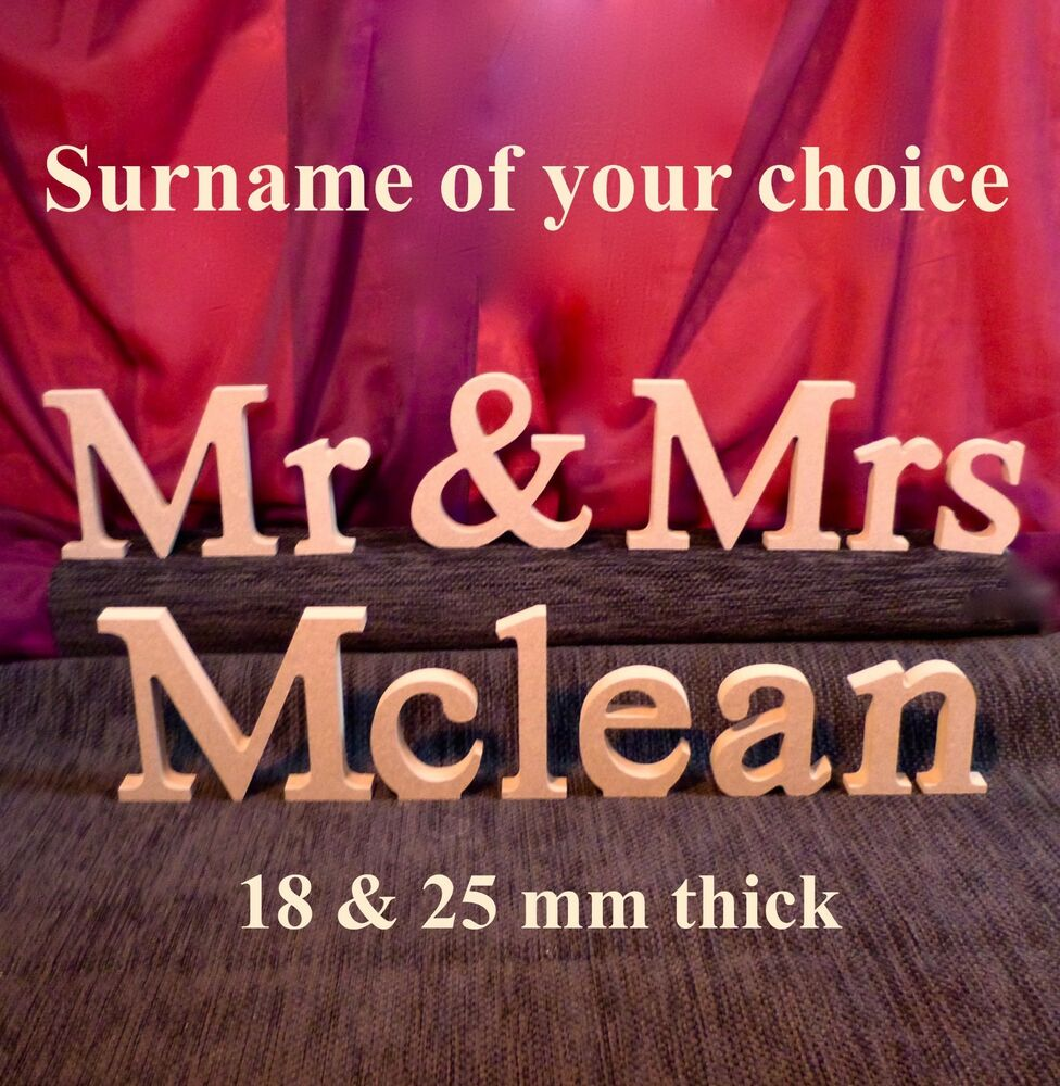 Mr and mrs and personalised surname wooden mdf for Personalised mr and mrs letters