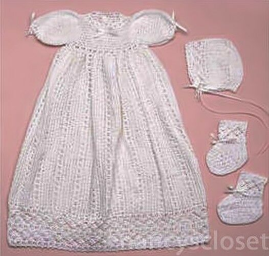 Free Knitting Pattern Baby Christening Gown : Crochet Pattern Baby Christening Dress Set eBay