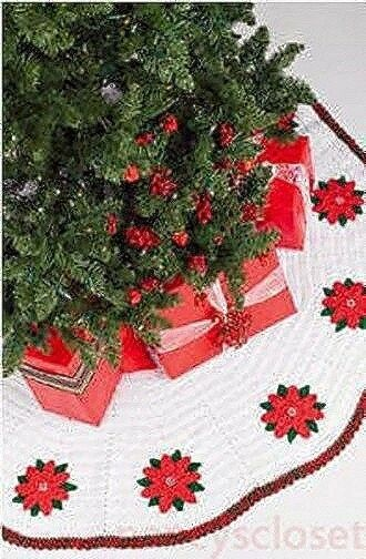 Crochet Pattern Christmas Tree Skirt Poinsettia | eBay